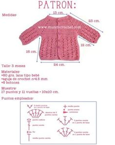 Jacket or Sweater Archives - Mundo Crochet Jacket or Sweater Archives - Mundo Crochet Diy Crochet Cardigan, Crochet Jacket, Crochet Hooks, Free Crochet, Baby Pullover Muster, Baby Sweater Patterns, Diy Crafts Crochet, Crochet Baby Clothes, Baby Sweaters