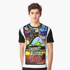 'PeanutButterJam' Graphic T-Shirt by My T Shirt, Vivid Colors, Female Models, Shirt Designs, Printed, Awesome, Sleeves, Mens Tops, Cotton