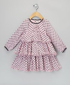 Rose & Black Polka Dot Ruffle Dress - Infant by TAiLLE O