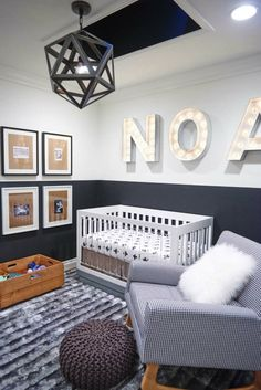 Harlow Acrylic Convertible Crib with Toddler Bed Conversion Kit - Little Boy Names - Ideas of Little Boy Names - Grey baby room love the chair crib & light fitting Baby Boy Rooms, Baby Boy Nurseries, Baby Cribs, Baby Room, Kids Rooms, Child Room, Boys Room Design, Nursery Design, Baby Design