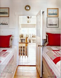 nautical guest bedroom twin beds with built in drawers instead of bunk beds with dresser - Small Bedroom With Two Beds