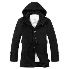 81e3df0c6cc9e 2015 Nuevos hombres de la moda estilo coreano cómodo capa ocasional popular  gruesa caliente solo pecho trinchera abrigo de invierno MWF076