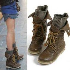 Meily Stock-fashion Botines Botas Zapato Sin Taco Con Media