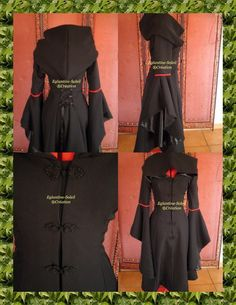 Coat Gothic steampunk Elvish Rëve black custom by EGLANTINEFEERIE,