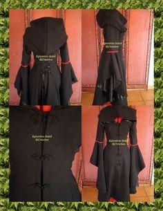 Coat Gothic steampunk Elvish Rëve black custom by EGLANTINEFEERIE,