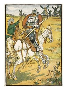 Walter Crane - Don Quixote and the Windmills, illustration from 'Don Quixote of the Mancha' retold by Judge Parry, pub. Blackie & Son Ltd, Lond Don Quixote Quotes, Dom Quixote, Don Miguel, Walter Crane, English Artists, Disney Tattoos, Japanese Prints, Horse Art, Find Art