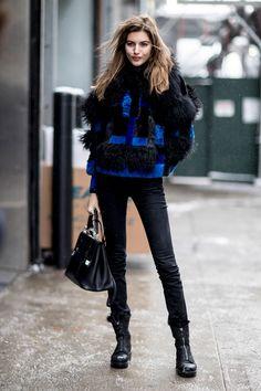 Jean noir manteau doudou