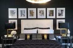 Bedroom black and white with a touch of gold!