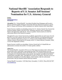 """Nat Sheriffs' Assoc  NSA Responds to Senator Sessions nomination as USAG: """"Sen. Sessions would be an extraordinary AG..."""""""