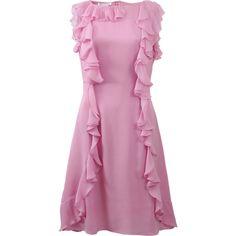 Oscar De La Renta Ruffle Front Dress ($1,890) ❤ liked on Polyvore featuring dresses, frilly dress, knee high dresses, silk dress, oscar de la renta and knee-length dresses