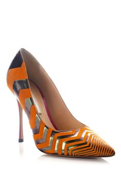 Metallic Stripe Pump by Nicholas Kirkwood for Preorder on Moda Operandi