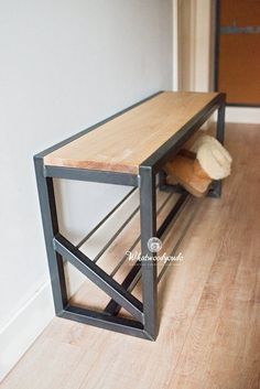 diy repurposed items upcycling home decor Shoe storage bench Decor, Furniture, Wood Bench, Bench With Shoe Storage, Hallway Bench, Steel Furniture, Shoe Rack Hallway, Shoe Storage, Metal Furniture