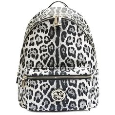 GUESS Leeza Snow Leopard-Print Backpack ($125) ❤ liked on Polyvore featuring bags, backpacks, snow leopard, backpack strap pouch, black backpack, leopard print backpack, genuine leather backpack and black leather pouch