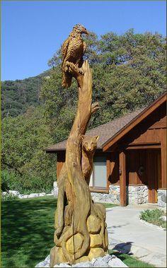 HAWK & LEOPARD...Wood Carving, Oak Glen, CA 4-27 | Flickr - Photo Sharing!