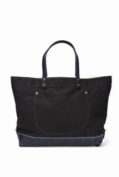 Waxed Canvas Tote With Leather Boot