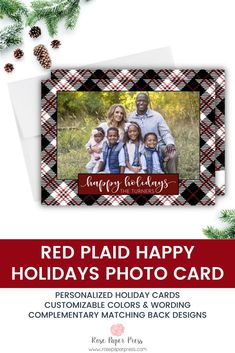 Share holiday greetings with Plaid holiday photo cards. Need to add more pictures or share a detailed message? Add a complementary custom back upgrade. We design, personalize, and professionally print your holiday cards for you. Shop Holiday Cards today.