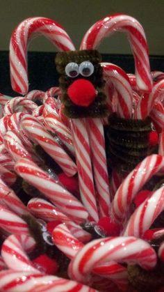 So cute reindeer candy canes