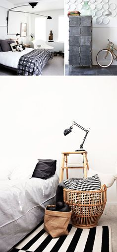 Black/white/gray and wood accents. Minimal + modern + perfect. Images via SFgirlbybay.