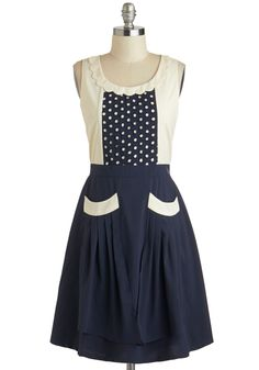 Detail Ornamented Dress - Blue, Tan / Cream, Pockets, Scallops, Casual, Vintage Inspired, A-line, Tank top (2 thick straps), Scoop, Polka Dots
