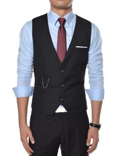 31% Off was $48.99, now is $33.99! (VE34) TheLees Mens premium layered style slim vest waist coat