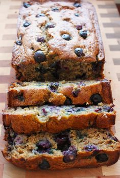Healthier Blueberry Banana Bread - a lightened up breakfast bread recipe using oat flour, honey and applesauce!