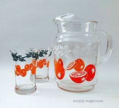 "Vintage Orange Juice Pitcher and the word of the day ""Swanky Swig"" Juice Glasses Set"
