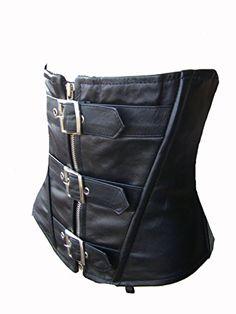 Damen Korsett Ledercorsage 38 Unterbrust Korsett Gürtel ECHTES LEDER L schwarz Oberteil Brust Arm frei (38)