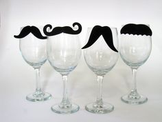 Staches for Your Glasses Mustache Wine Charms (Set of Four to clip on your glass) (Moustache). $12.00, via Etsy.