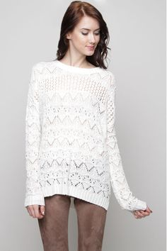 Madison Crochet Sweater in Snow White//