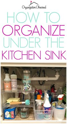 Looking for a way to organize under the kitchen sink? Check out how we did it here! Using just a few great organizing systems we were able to perfectly organize under the kitchen sink and keep it organized! Under Kitchen Sink Organization, Under Kitchen Sinks, Kitchen Sink Faucets, Pantry Organization, Kitchen Storage, Organized Kitchen, Organizing Kitchen Utensils, Hidden Kitchen, Organized Mom