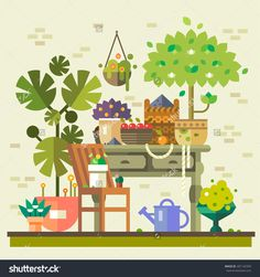 Harvest in countryside. Table with flowers, vegetables and fruits, warehouse, watering and care. Summer village. Vector flat illustration