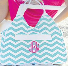 Large Chevron Beach Bag IN STOCK by adstorey on Etsy, $24.95