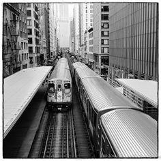 Chicago L trains from Adams Wabash station. #notiphone #outofchicago #fujifilmx100s