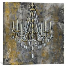 """For over tub in Master Bath - $220:   iCanvas Vintage Chandelier II by Silvia Vassileva Painting Print on Wrapped Canvas - 37"""" x 37"""""""