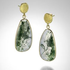 Moss Agate Earrings by Barbara Heinrich @QUADRUM