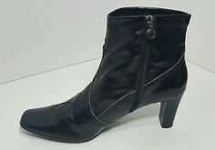 Etienne Aigner Size 8 1/2 Black Booties Ankle Boots Shoes patent leather  #1354