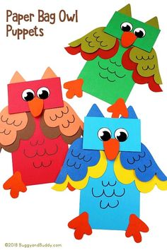 Cute Paper Bag Owl Puppet Craft for kids to make & use for imaginative play. Includes a free printable owl craft template to make your own owl hand puppets! Animal Crafts For Kids, Fun Crafts For Kids, Preschool Crafts, Art For Kids, Preschool Christmas, Christmas Crafts, Monkey Crafts, Owl Crafts, Bird Puppet