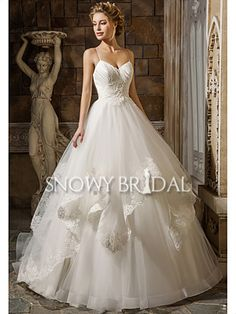 Trendy Spaghetti Strap With Trains Tiered Applique Corset Ivory Ball Gown Wedding Dress US