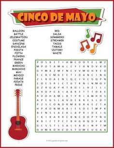 Cinco de Mayo Word Search Puzzle:Celebrate May 5th with a joyous word search puzzle.  Look for the hidden words in all directions, including diagonally and backwards.  Some of the words overlap as well, making this a somewhat challenging puzzle.  Use it as a handout for early finishers or as a treat for everyone to take home.