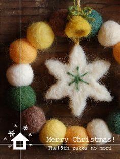 羊毛フェルトのリース - おうち de 1Day Shop *zakkaの森*