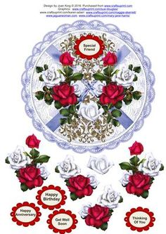 Reflection of roses on Craftsuprint designed by Joan King - A pretty topper with decoupage for a whole variety of occasions.  - Now available for download!