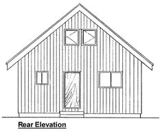 Cabin Contemporary Rear Elevation of Plan 99953
