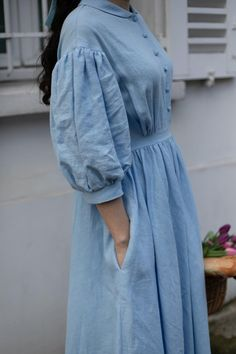 Meg Dreess in Sky Blue with long sleeves, Linen Dress – Linen Dresses Kurta Designs Women, Kurti Neck Designs, Kurti Designs Party Wear, Blouse Designs, Sleeve Designs, Modest Fashion, Hijab Fashion, Fashion Dresses, Gothic Fashion