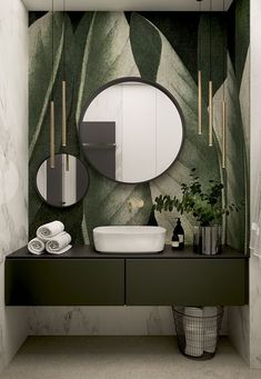 Stylish apartment for a young couple in Krakow - Dezign Ark (Beta) Badezimmer Modern Bathroom Design, Bathroom Interior Design, Interior Decorating, Interior Design Wallpaper, Bathroom Designs, Bathroom Inspiration, Home Decor Accessories, Cheap Home Decor, Home Remodeling