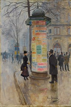 Jean Béraud (French, 1849–1936). Parisian Street Scene, ca. 1885. The Metropolitan Museum of Art, New York. Robert Lehman Collection, 1975 (1975.1.243) | This painting shows a view of a Parisian street corner on a gray, winter day. #paris