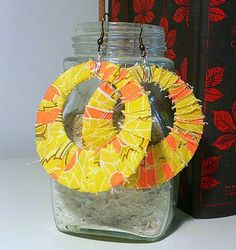recycle your fabric scraps and plastic into these fun earrings