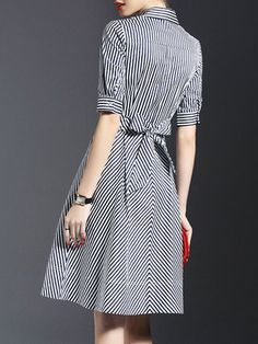 Dark Blue Shirt Collar Stripes Half Sleeve Bow Shirt Dress