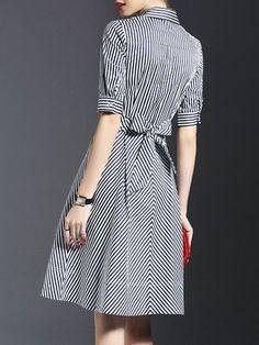 Dark Blue Shirt Collar Stripes Half Sleeve Bow Shirt Dress