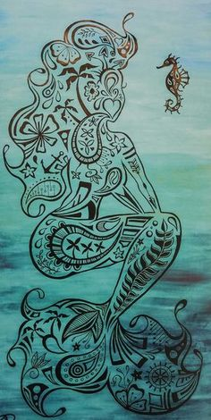 """11""""x17"""" Poster Print of original artwork """"Pin-up Mermaid"""" by San Diego based artist Jared Lazar. Each limited edition high-quality print is hand signed by the artist."""