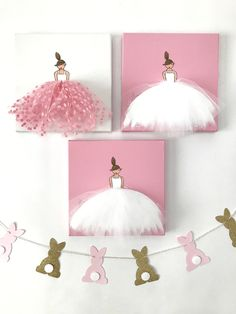 bunny garland, baby girls nursery decor, ballerina tutu tulle skirt canvas art